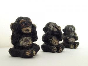 zien, horen, zwijgen aap